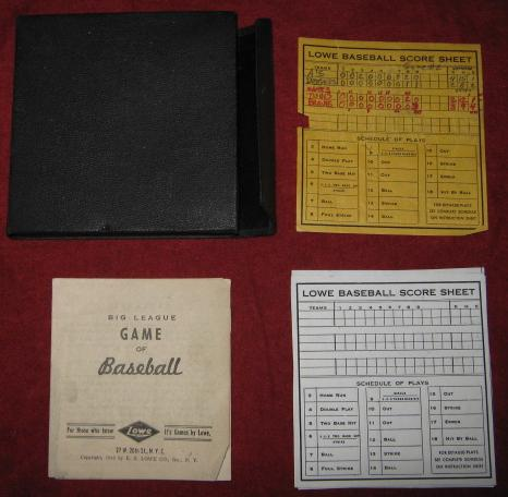 e.s. lowe big league game of baseball box