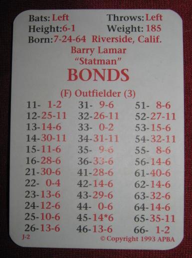 apba baseball game 1992 season cards