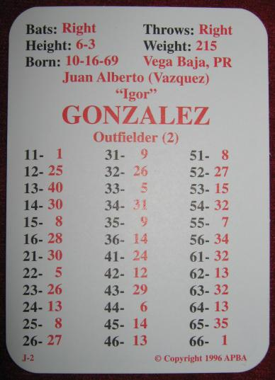 apba baseball game card 1996