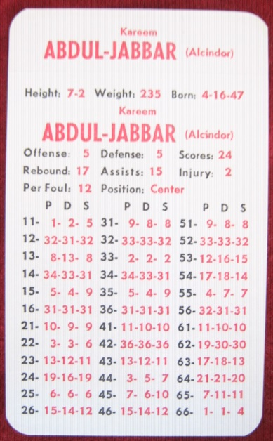 apba basketball game card 1976-77