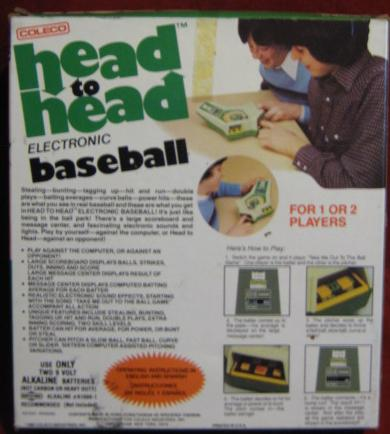 coleco head-to-head baseball handheld electronic game box back