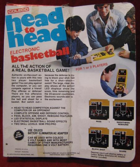 coleco head to head basketball handheld electronic game box front