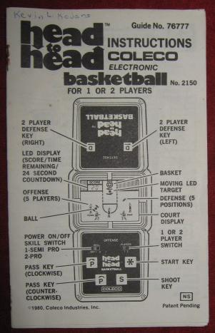 coleco head to head basketball handheld electronic game parts