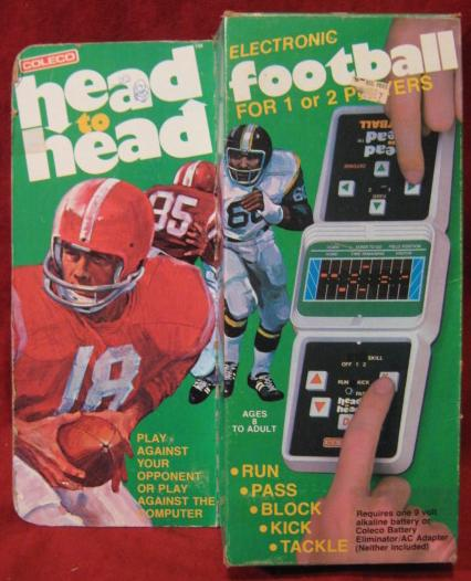 coleco head to head football handheld electronic game box front
