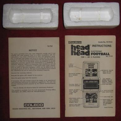coleco head to head football handheld electronic game parts
