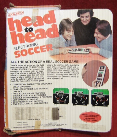 coleco head to head soccer handheld electronic game box front