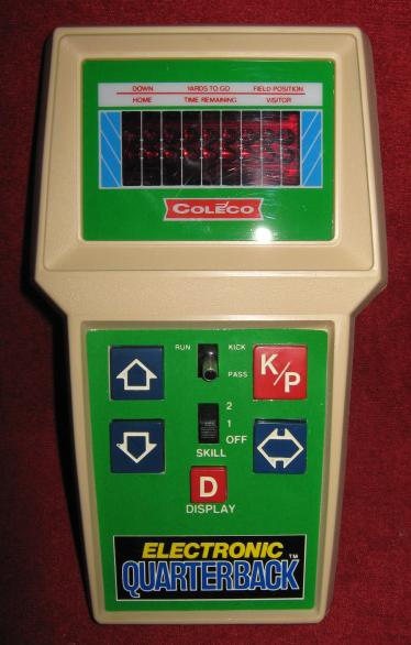 coleco electronic quarterback handheld football game console front