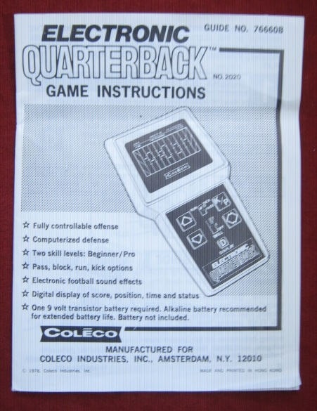 coleco electronic quarterback handheld football game parts