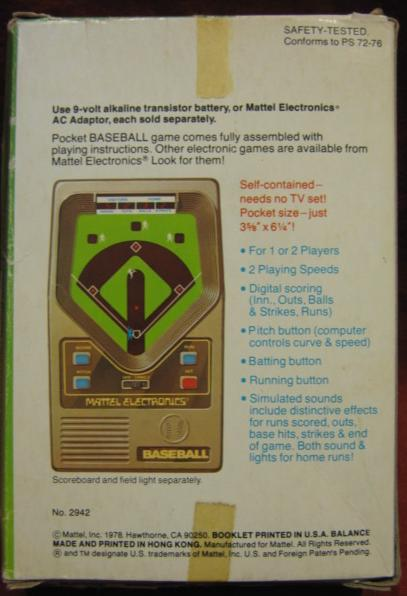 mattel baseball handheld electronic game box back