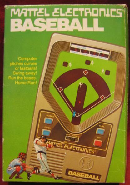 mattel baseball handheld electronic game box front