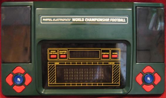 mattel world championship football handheld electronic game console front
