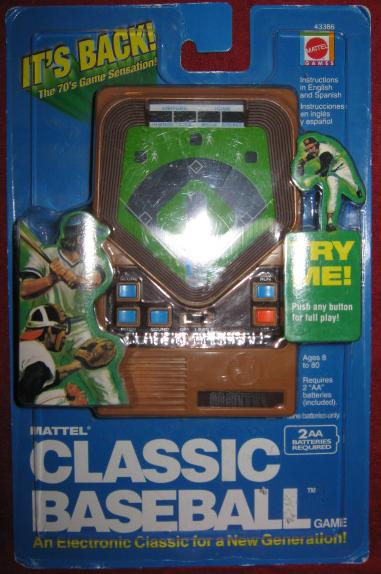 mattel classic baseball handheld electronic game console front