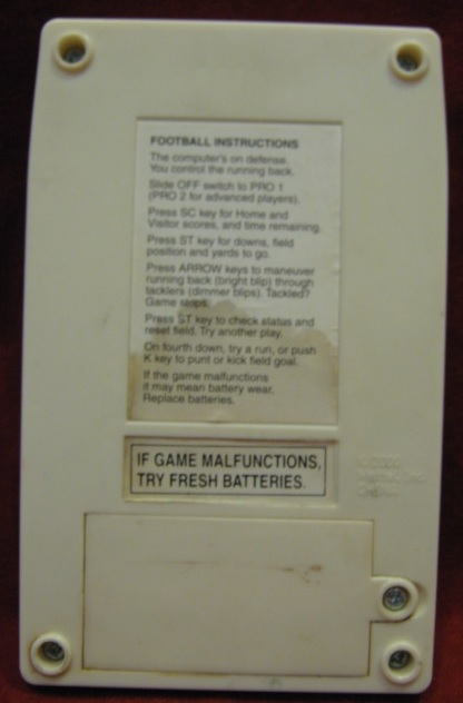 mattel handheld electronic classic football game back