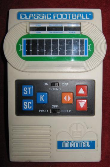 mattel handheld electronic classic football game front