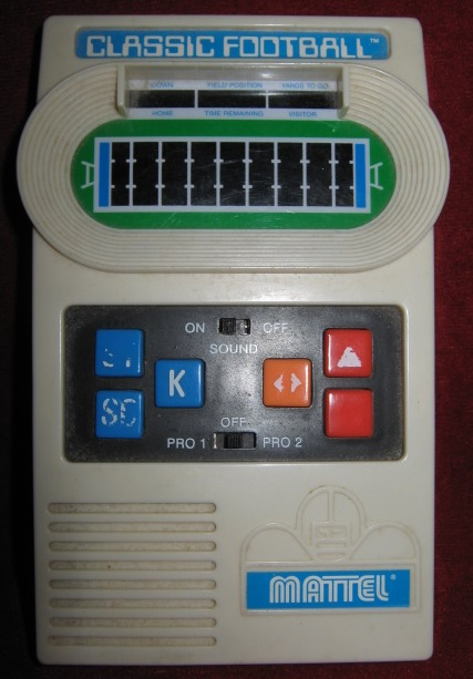 mattel radio shack classic football handheld electronic game console front