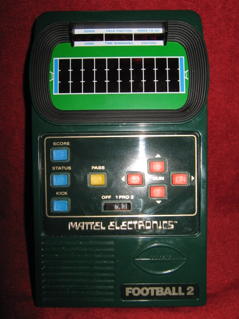 mattel football 2 handheld electronic game console front