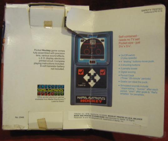 mattel handheld electronic game box back