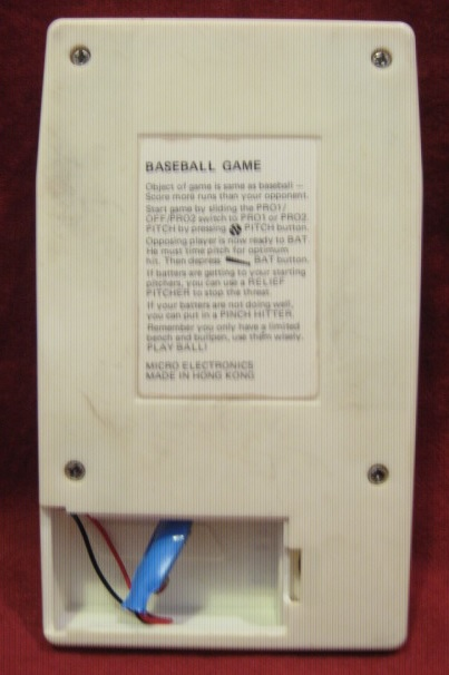 MICRO ELECTRONICS BASEBALL GAME CONSOLE BACK