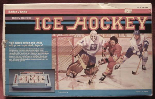 radio shack ice hockey handheld electronic game box front