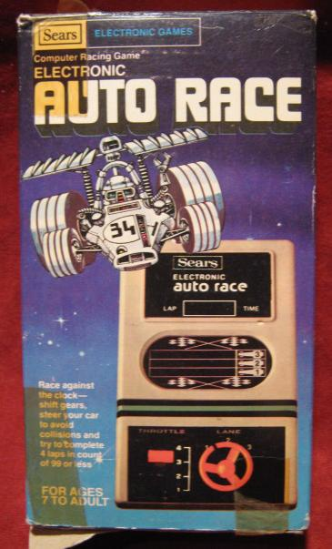 sears auto race handheld electronic game box front