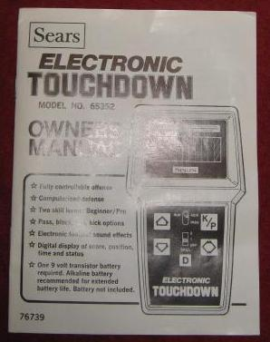 sears touchdown handheld electronic game parts