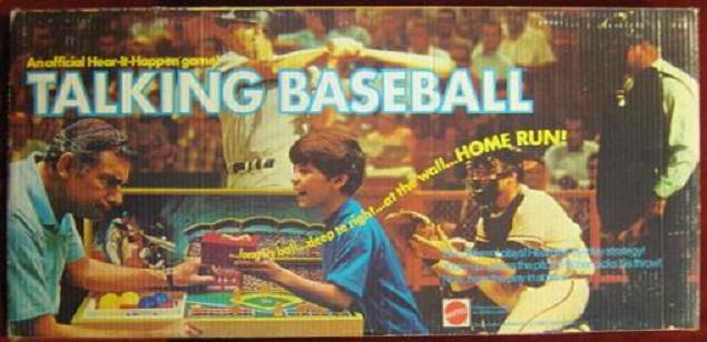 mattel talking baseball game box