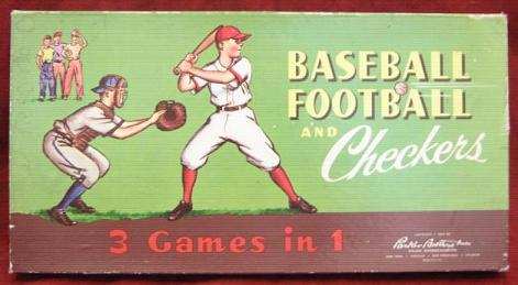 pb baseball football checkers 3-in-1 Game 1957