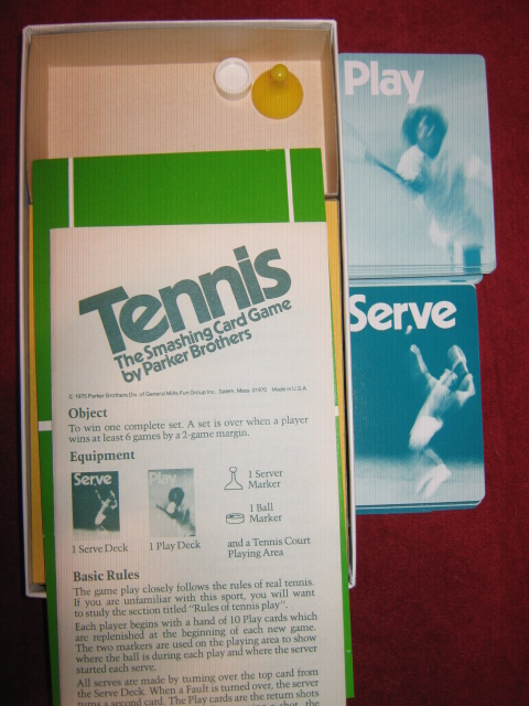 parker brothers tennis card game parts