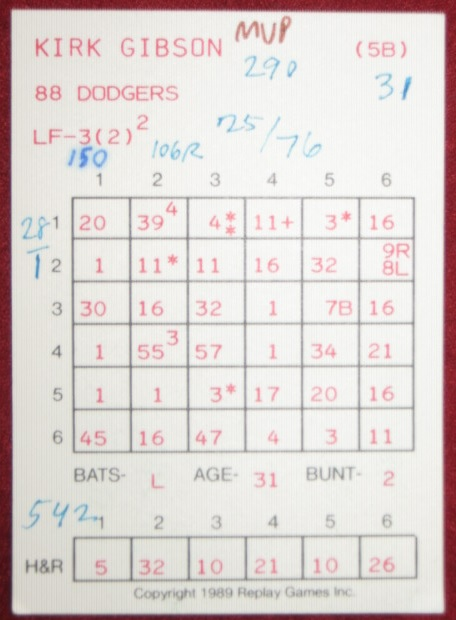 replay baseball game card 1988