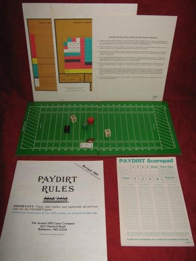 sports illustrated paydirt pro football game parts 1980