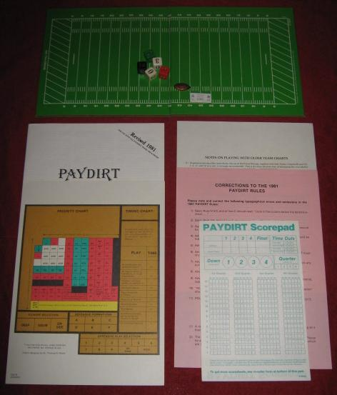 sports illustrated paydirt pro football game parts 1982
