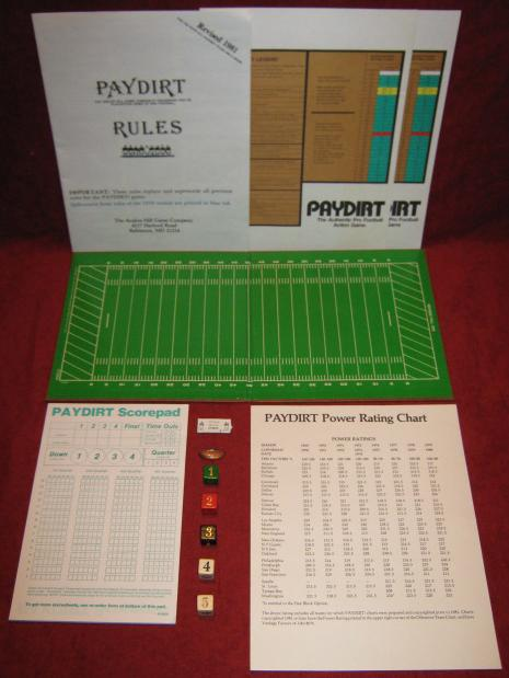 sports illustrated paydirt pro football game parts 1984