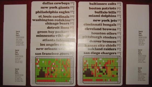 sports illustrated paydirt pro football game 1969 season charts