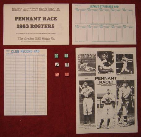 Avalon Hill Pennant Race Game Parts 1983