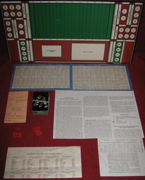 strat-o-matic COLLEGE FOOTBALL game parts 1975
