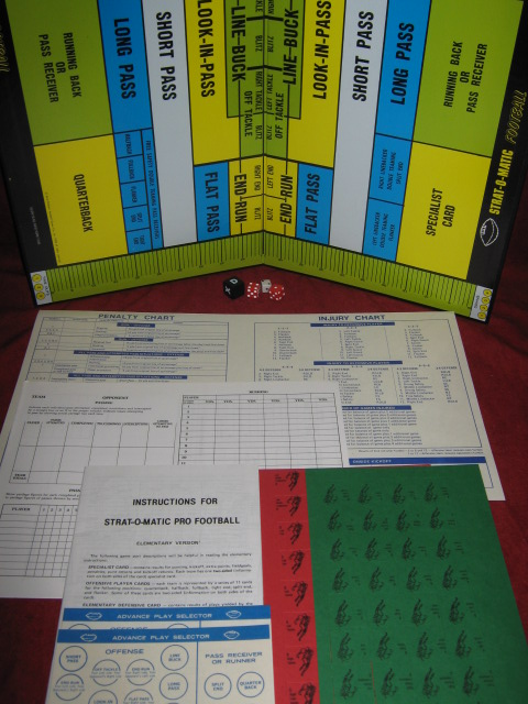 strat-o-matic football game parts 1999