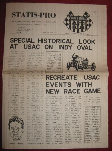 Midwest Research Statis Pro Newsletter 1973 USAC AUTO RACING