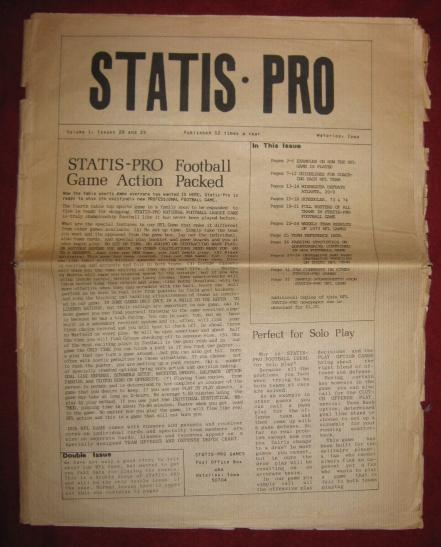 Midwest Research Statis Pro Newsletter Vol. 1 No. 28/29 STATIS PRO FOOTBALL
