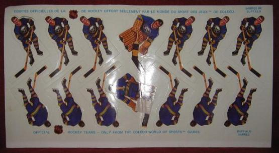 Coleco Table Hockey Game BUFFALO SABRES Team 1970s unused sheet