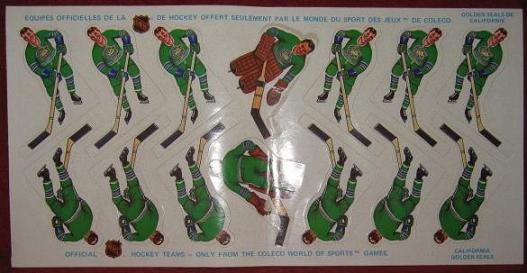 Coleco Table Hockey Game CALIFORNIA SEALS Team 1970s unused sheet