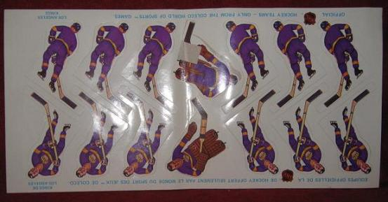 Coleco Table Hockey Game LOS ANGELES KINGS Team 1970s unused sheet