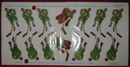 Coleco Table Hockey Game MINNESOTA NORTH STARS Team 1970s unused sheet