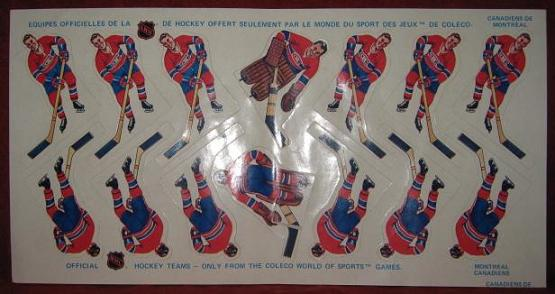 Coleco Table Hockey Game MONTREAL CANADIENS Team 1970s unused sheet