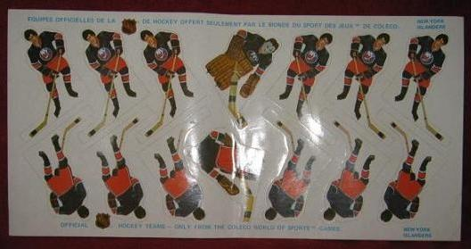Coleco Table Hockey Game NEW YORK ISLANDERS Team 1970s unused sheet