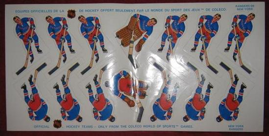 Coleco Table Hockey Game NEW YORK RANGERS Team 1970s unused sheet
