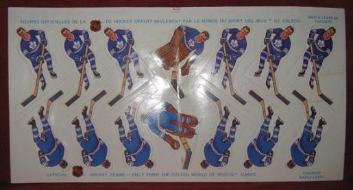 COLECO TABLE HOCKEY GAME TORONTO MAPLE LEAFS TEAM 1970's Sticker Sheet