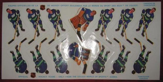 COLECO TABLE HOCKEY GAME VANCOUVER CANUCKS TEAM 1970's Sticker Sheet