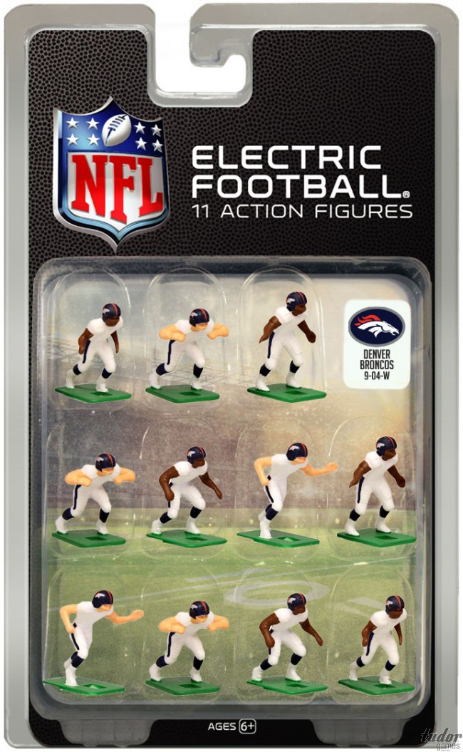 tudor electric football team DENVER BRONCOS WHITE JERSEY