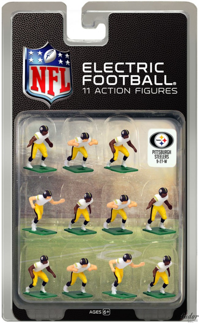 tudor electric football team PITTSBURGH STEELERS WHITE JERSEY