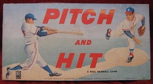 milton bradley pitch and hit baseball board game